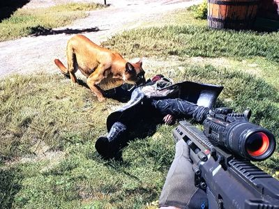 Cougar Peaches is your second #FangsForHire and very cute and helpful as Boomer :) She likes biting cultists - even when they are killed already LOL #FarCry5